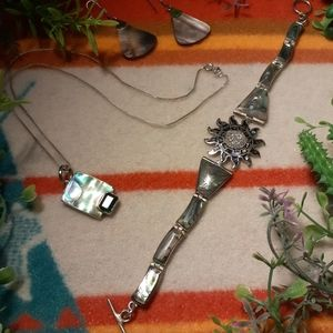 Mayan Sun God Silver Bracelet + 3 Silver Items